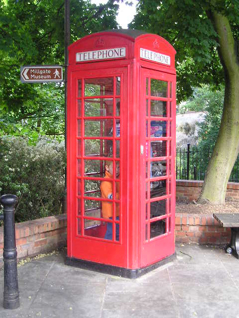 Typical English phone booth -- Newark, England